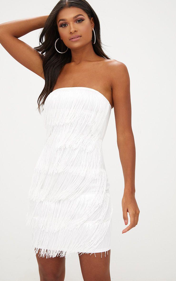 Robe moulante bandeau blanche à franges
