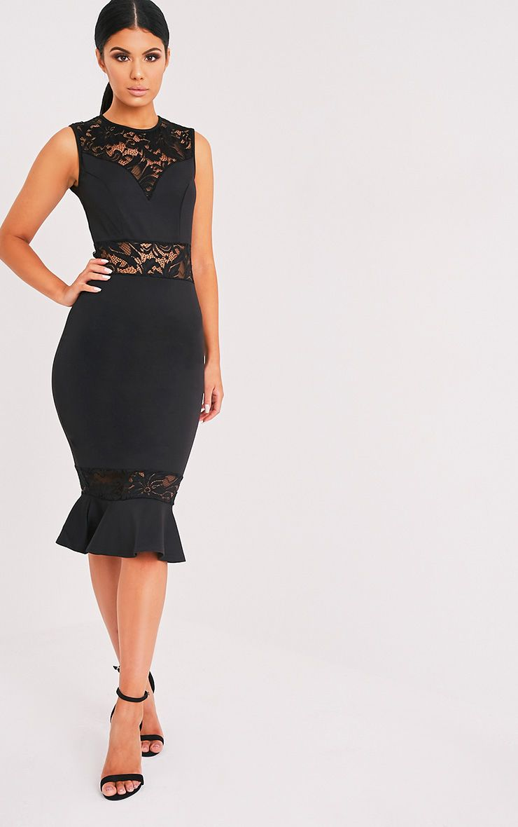 Cassie Black Lace Panel Fishtail Midi Dress