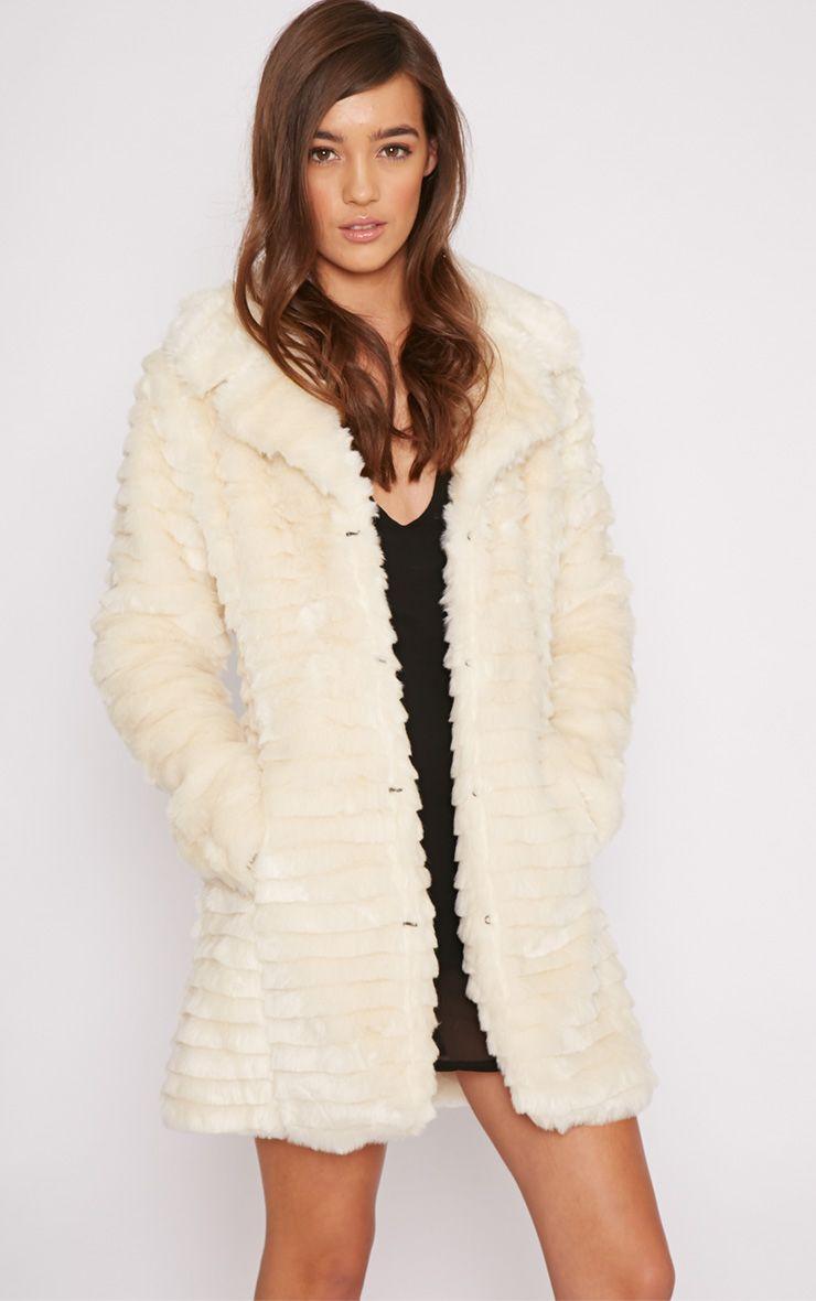 Priya Cream Fur Longline Coat  1