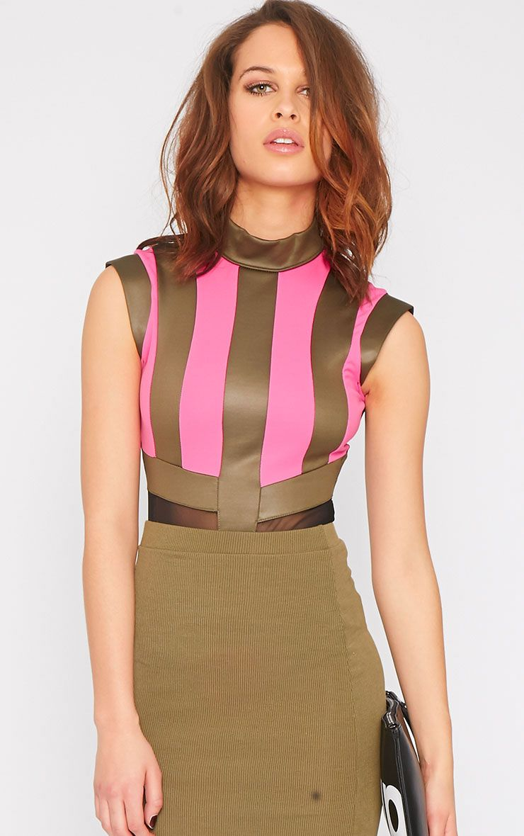 Farrah Pink Striped Mesh Bodysuit 1