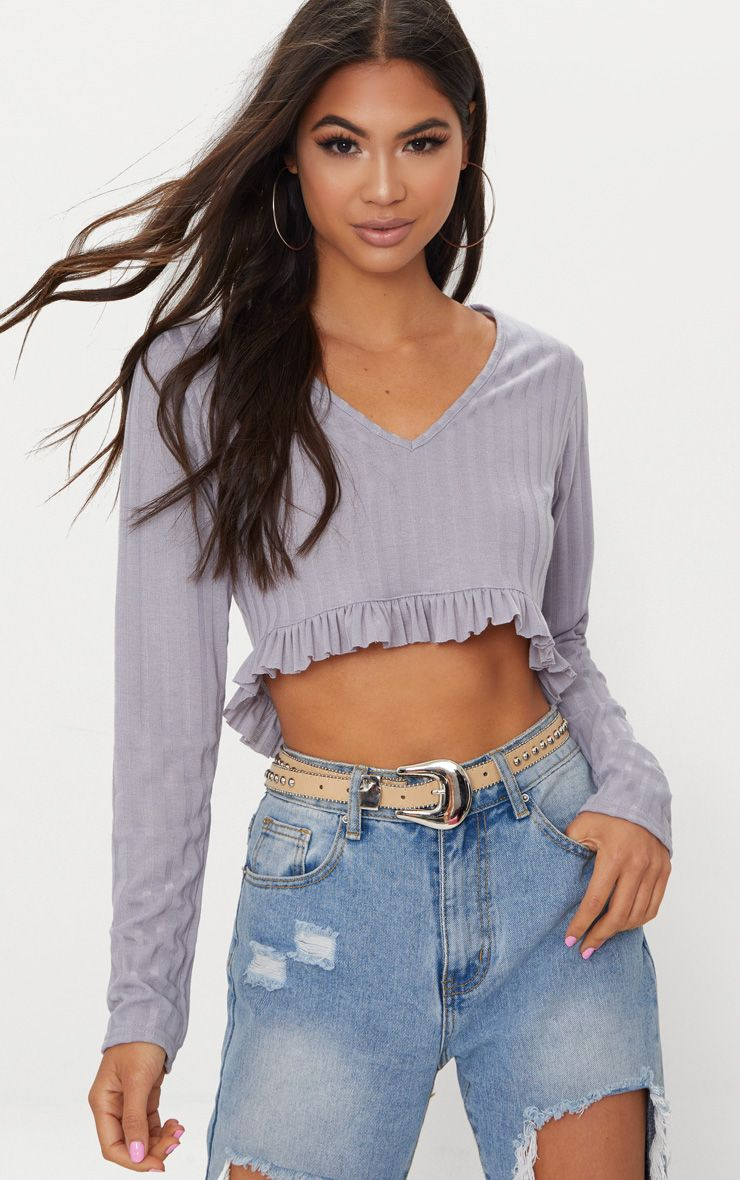 Grey Rib Knit Frill Hem Top