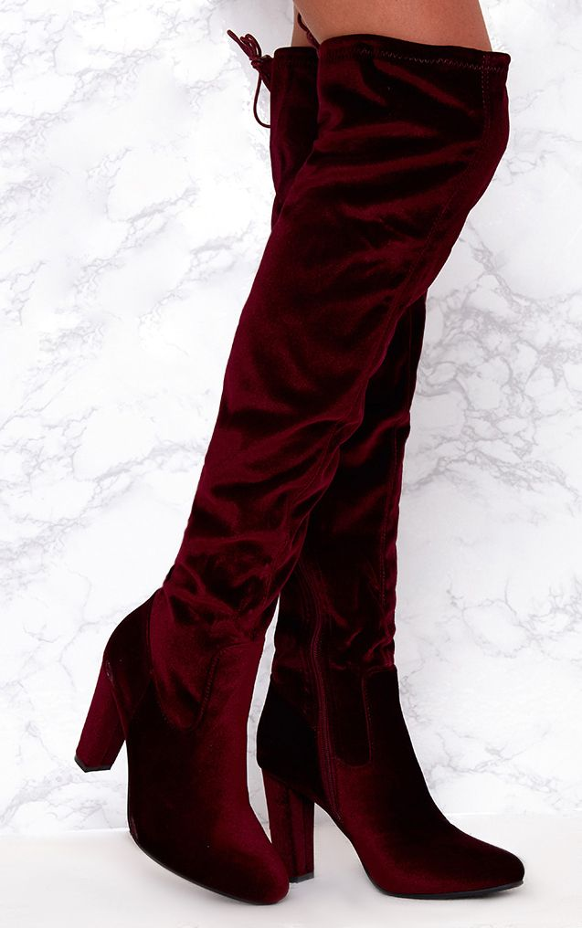Berry Velvet Heeled Over The Knee Boots