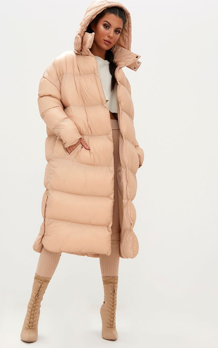 Nude Oversized Longline Puffer Jacket with Hood