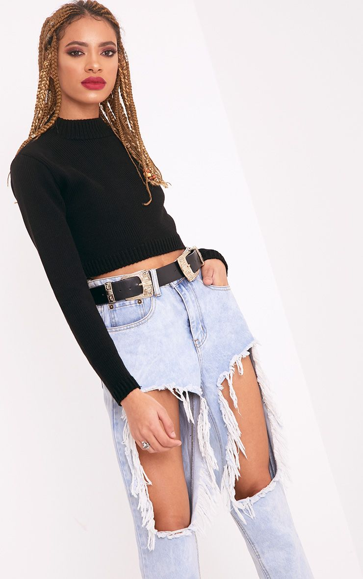 Zuly Black Cropped Knitted Jumper