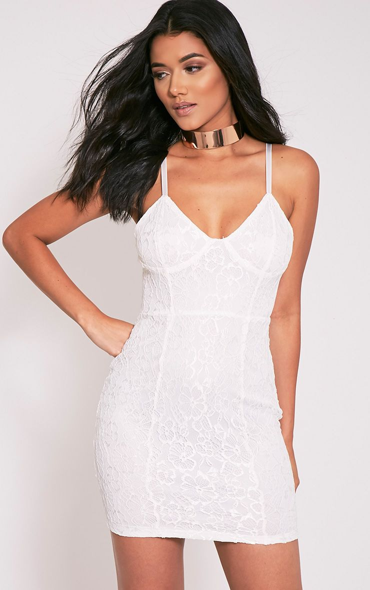 Catherina White Lace Panel Bodycon Dress