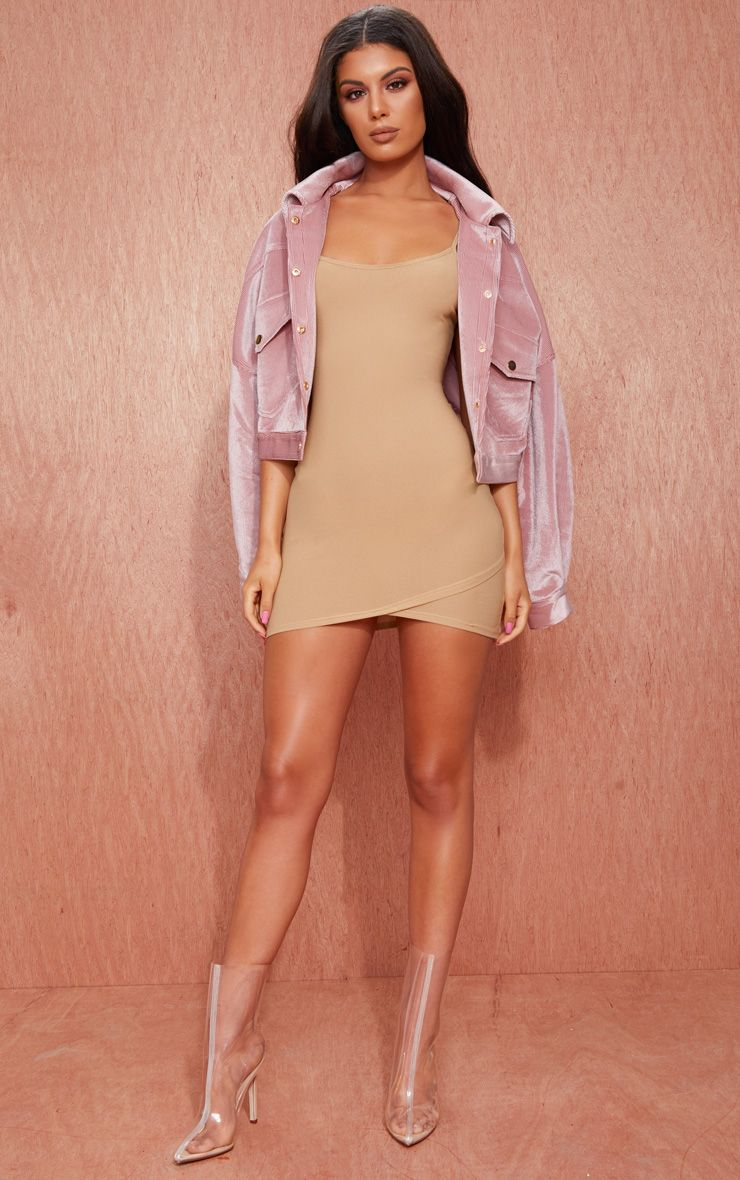 Camel Strappy Wrap Skirt Bodycon Dress
