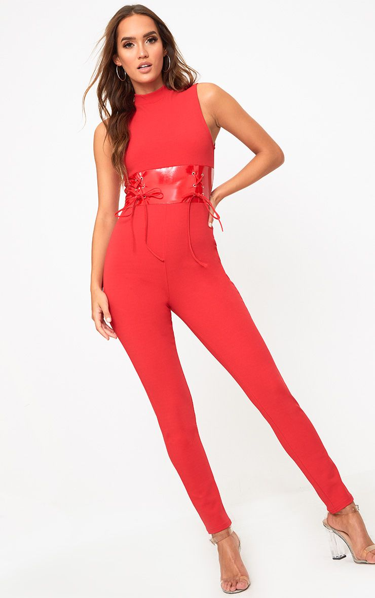 Red PU Corset Jumpsuit