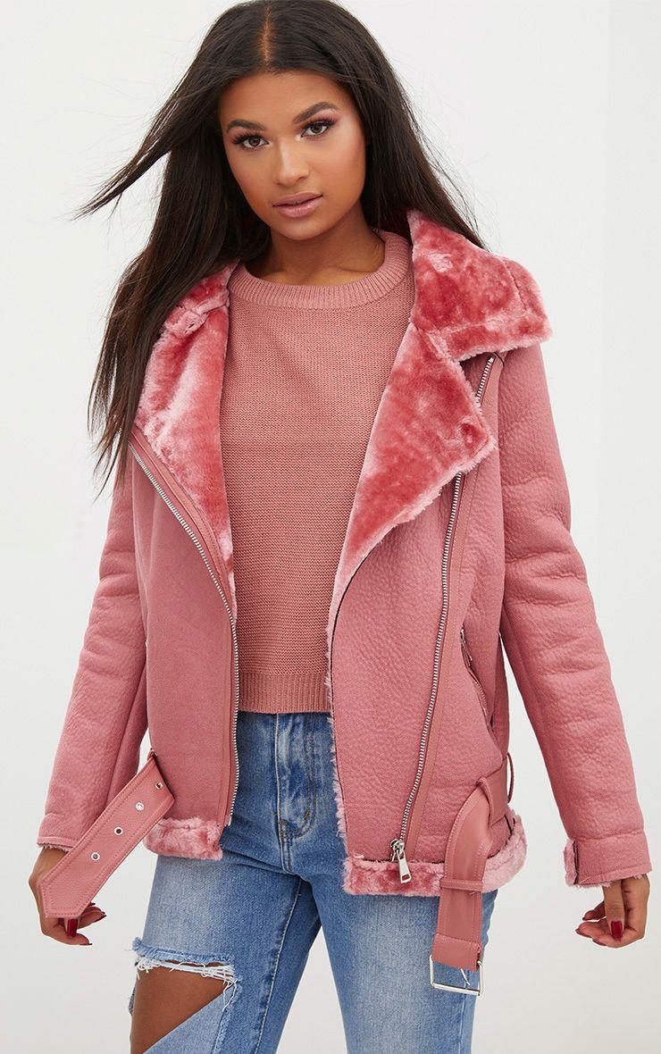Pink PU Aviator Coat