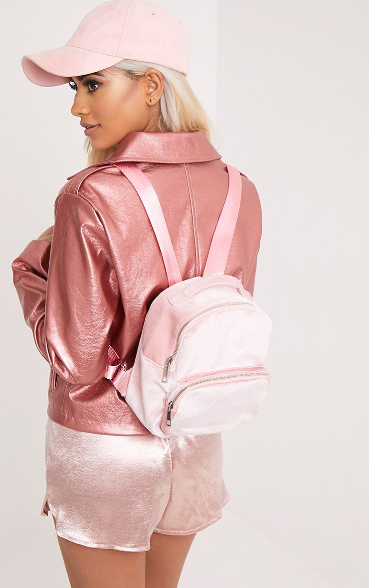 Nishka Pink Velvet Backpack