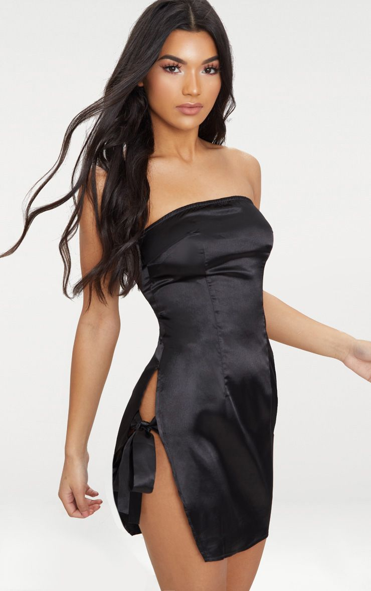 Black Satin Bandeau Extreme Split Bodycon Dress 1