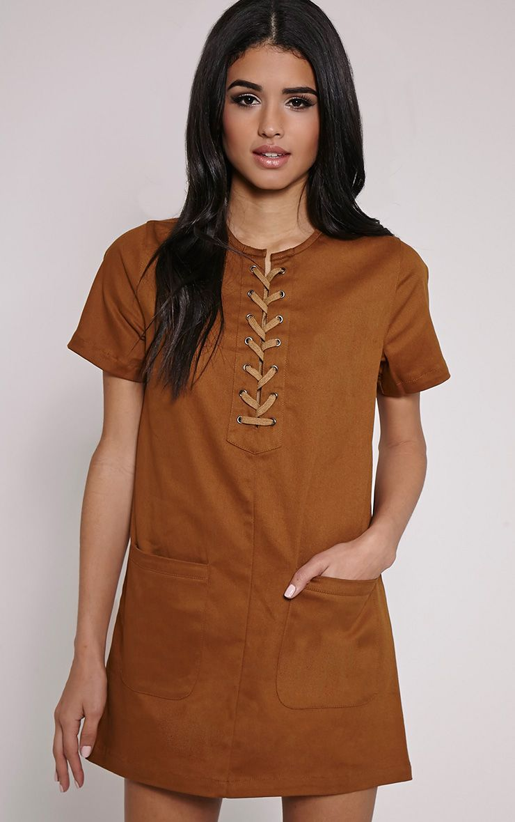 Merci Brown Lace Up Detail Shift Dress 1