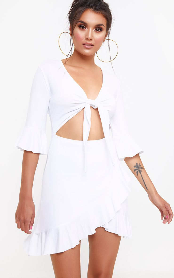White Frill Tie Front Shift Dress