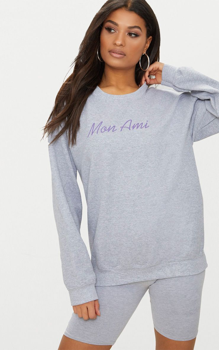 Grey Mon Ami Slogan Oversized Sweater