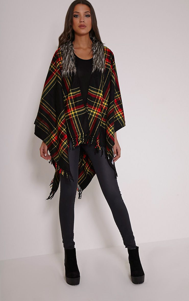 Stacey Black Tartan Fur Collar Shawl 1