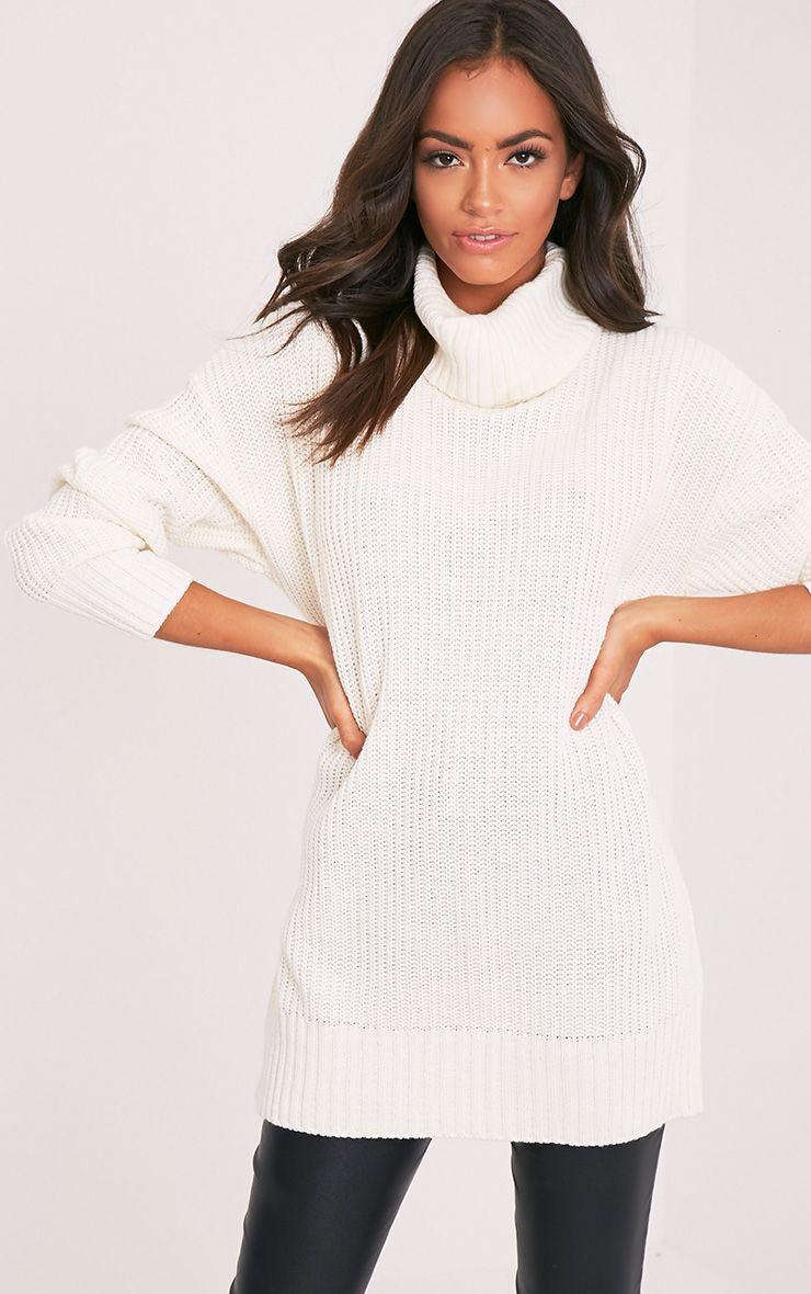 Zora pull crème tricoté surdimensionné à col roulé 1