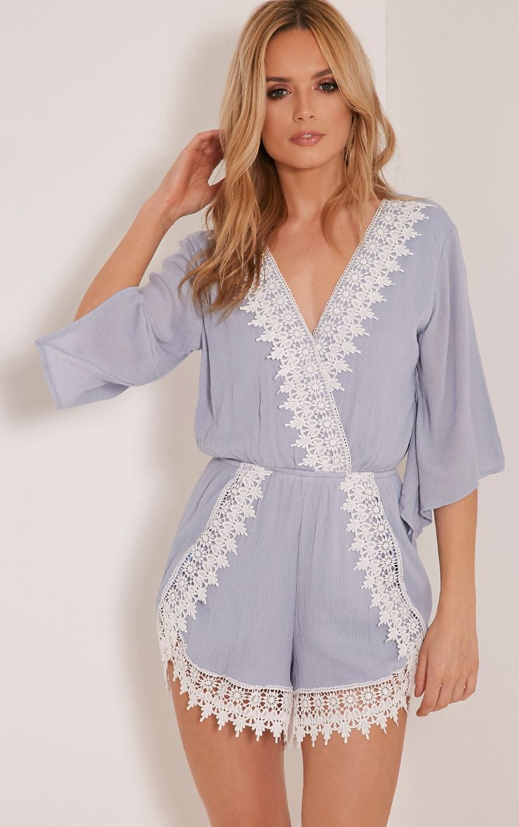 Sheea Blue Crochet Trim Playsuit 1