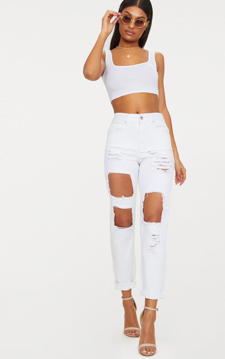 White Open Front Mom Jean