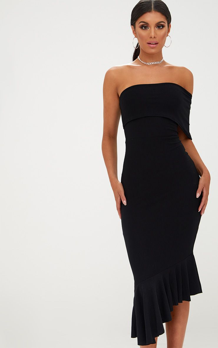 Black Asymmetric Bardot Frill Detail Midi Dress