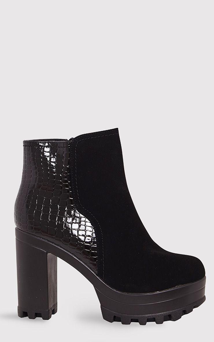 Sena Black Snake Heel Cleated Platform Ankle Boots