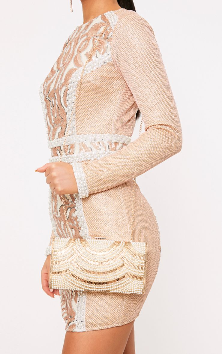 Bennie Gold Pearl Embellished Clutch Bag