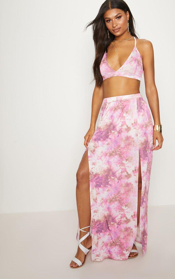 Pink Tie Dye Maxi Skirt