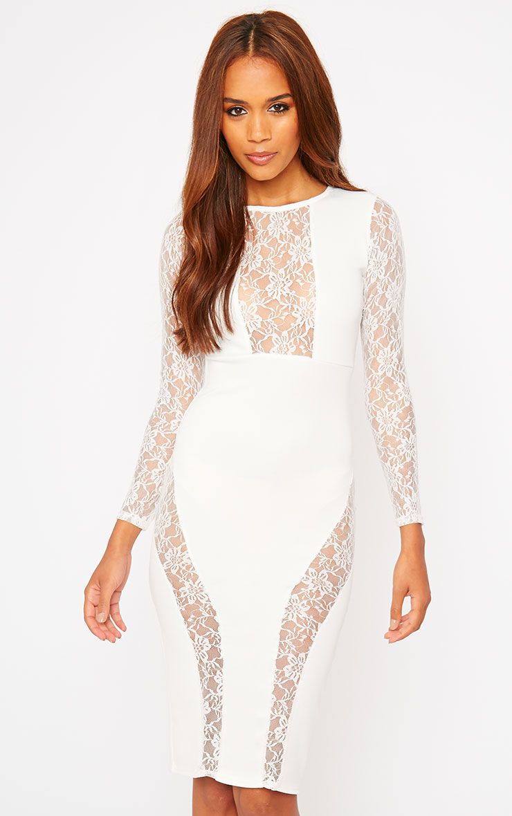 Perla Cream Lace Insert Dress 1