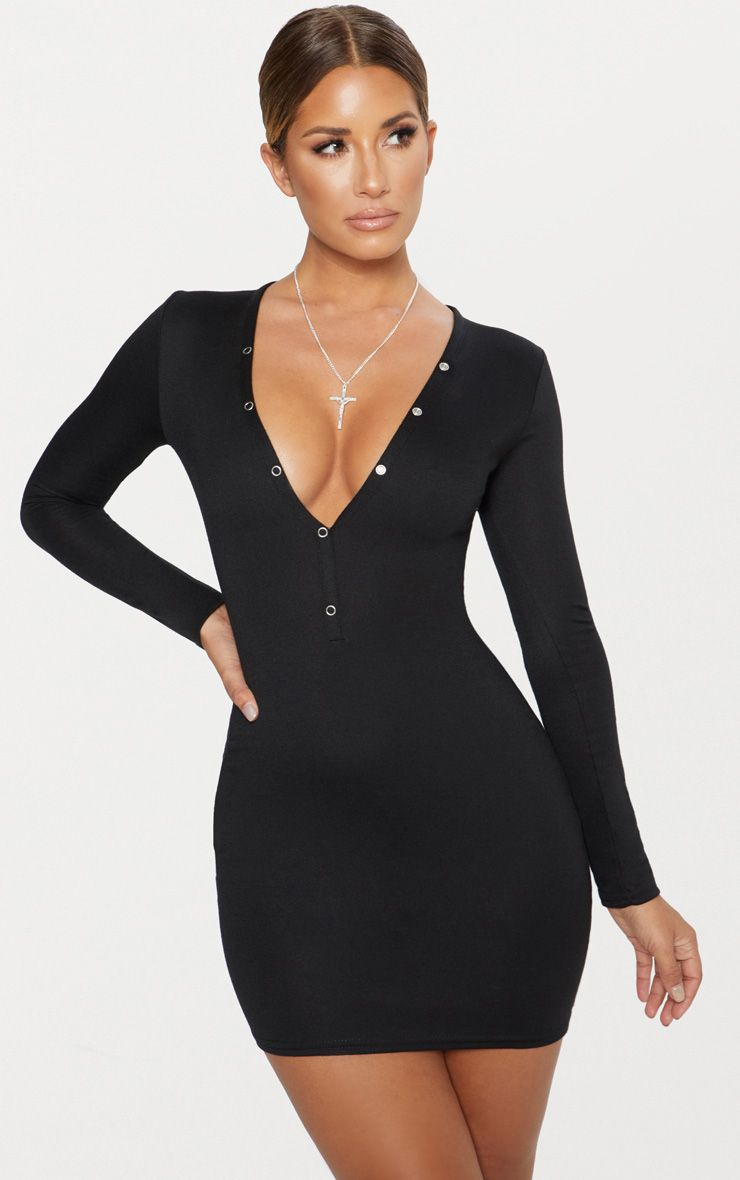 Black Second Skin Ponte High Neck 3/4 Sleeve Bodycon Dress Pretty Little Thing gO7bi2GtnB