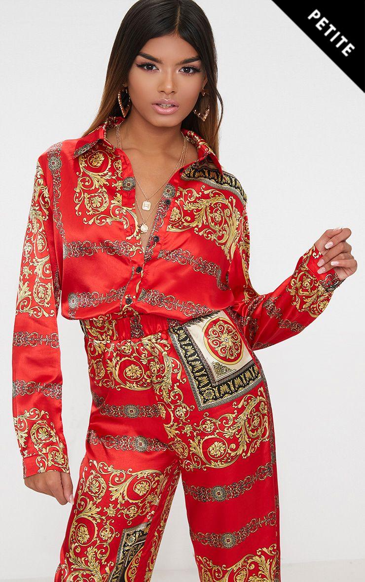 Petite Red Satin Scarf Print Shirt