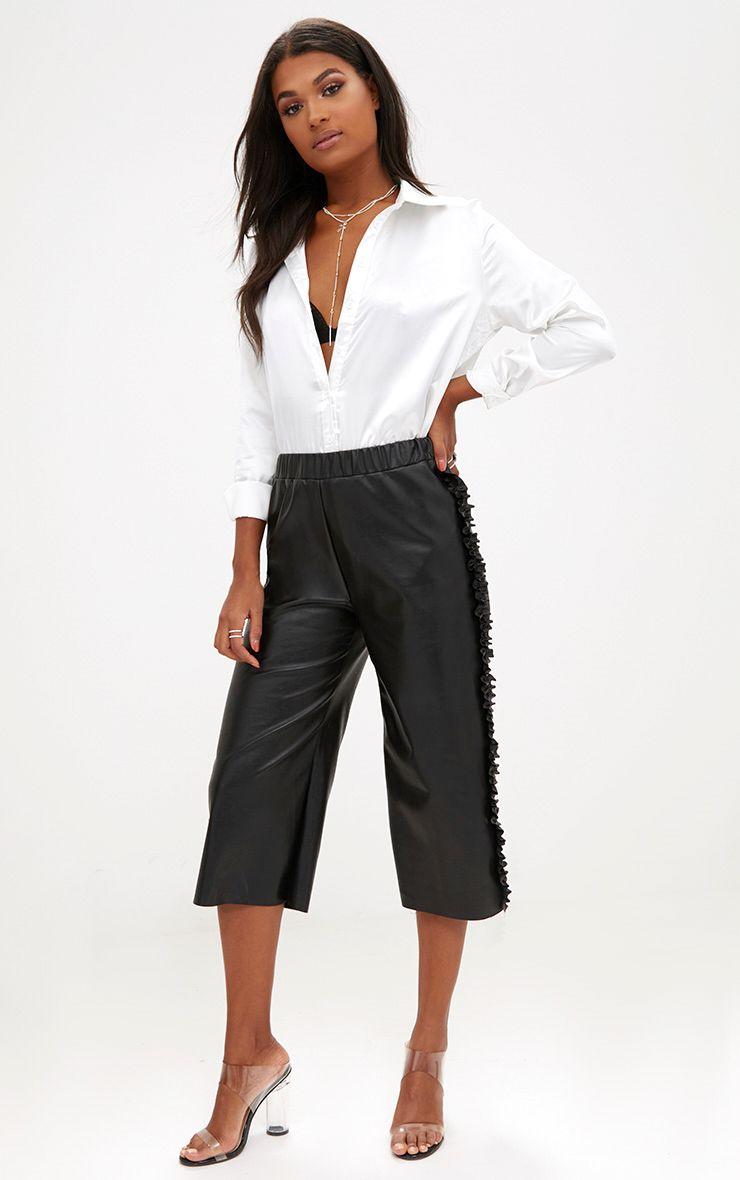 Black Faux Leather Ruffle Side Culottes