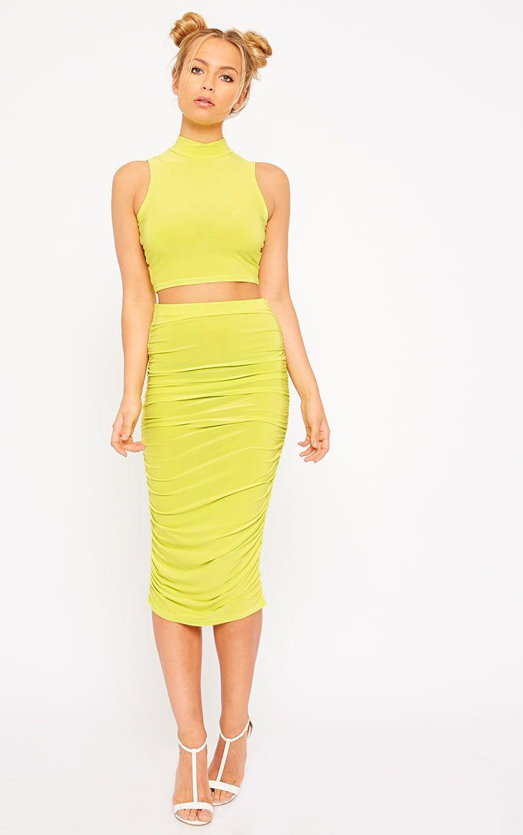 Saylor Lime Slinky Gathered Midi Skirt 1