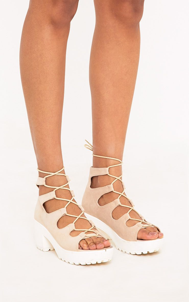 Caprice Nude Lace Up Sandals