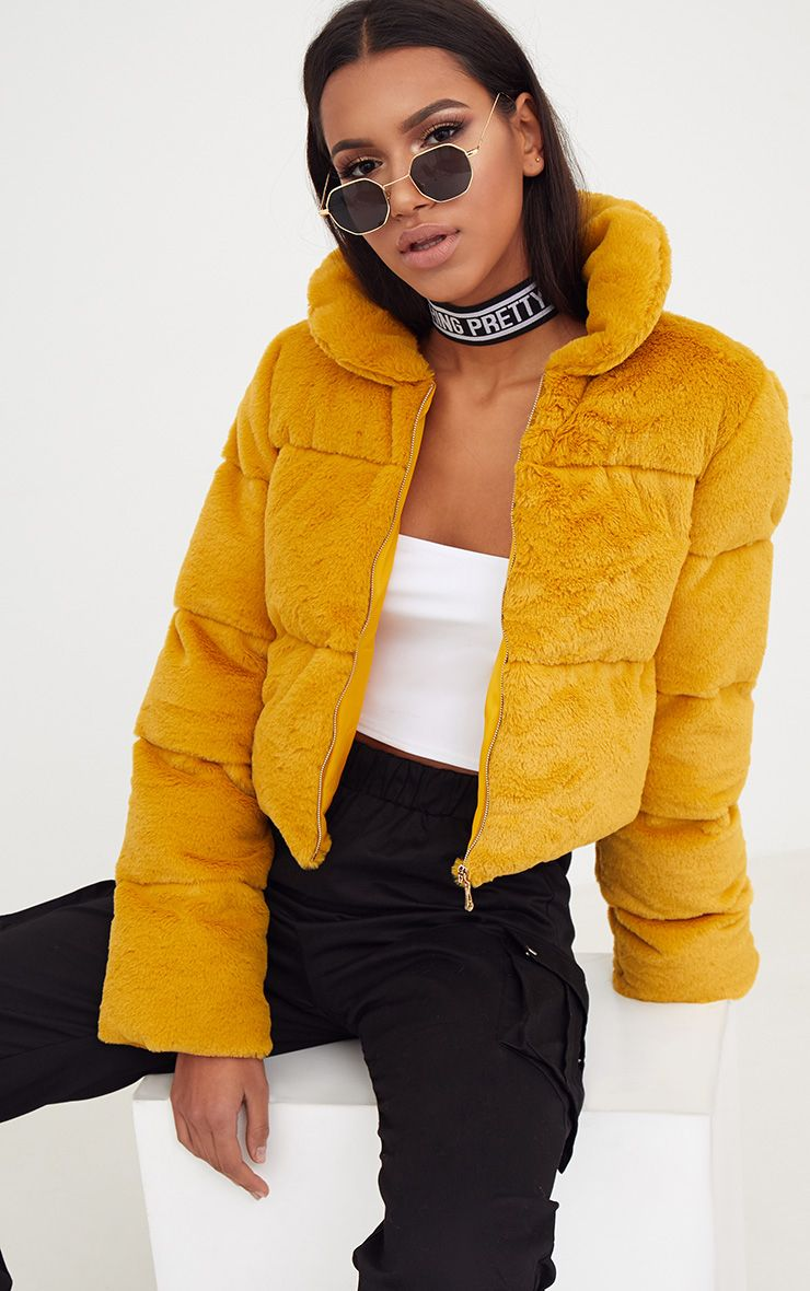 Mustard Faux Fur Puffer Jacket