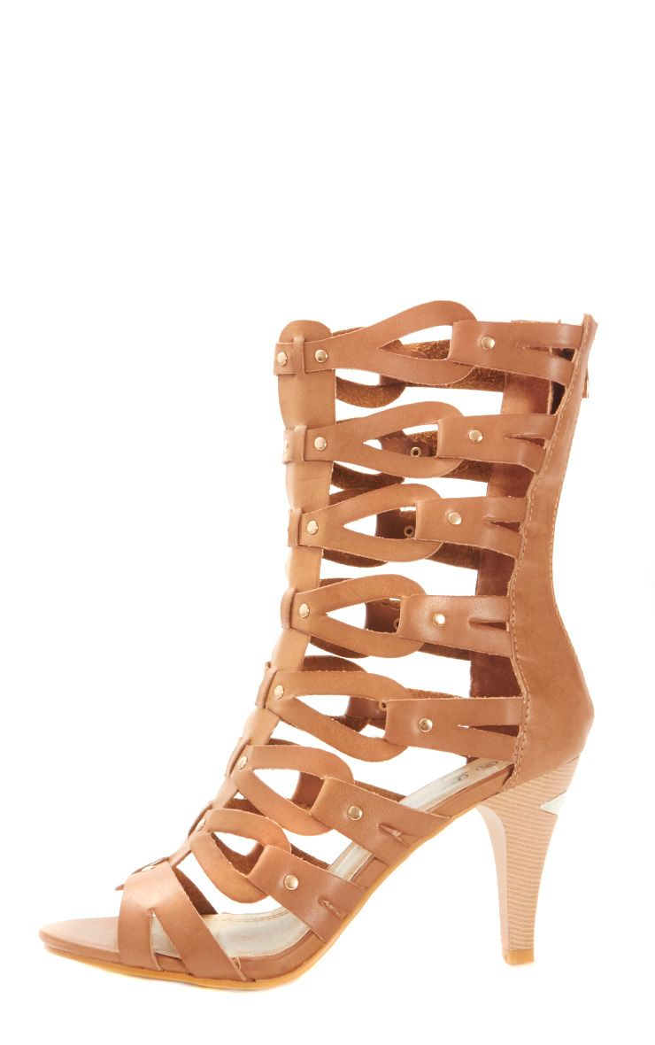 Kennedy Camel Leather Gladiator Heeled Sandal 1