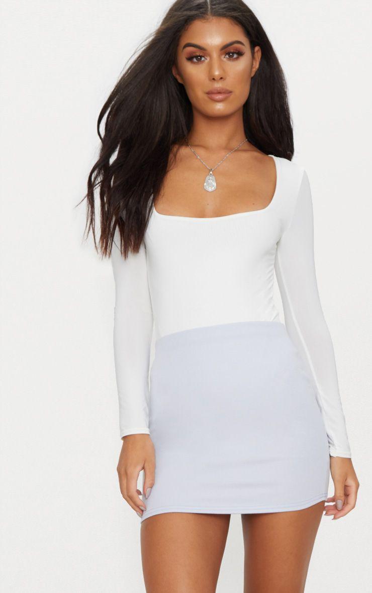 Basic Blue Jersey Mini Skirt