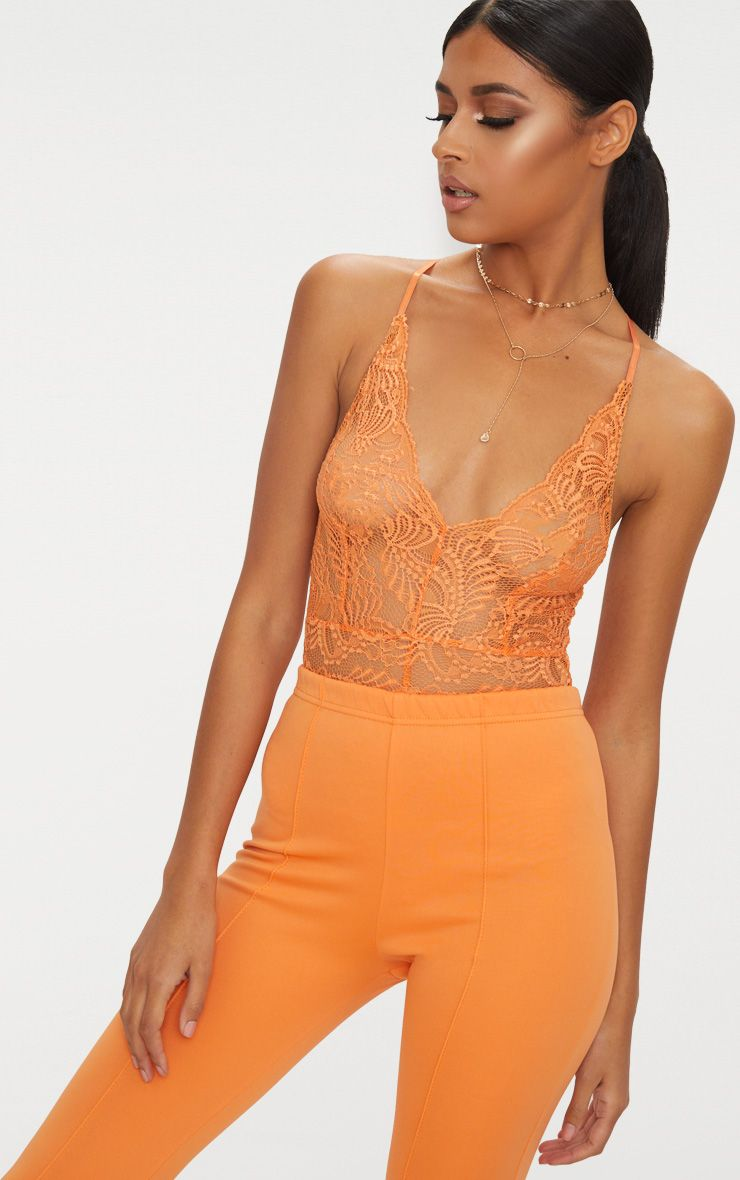 Tangerine Sheer Lace Cross Back Bodysuit