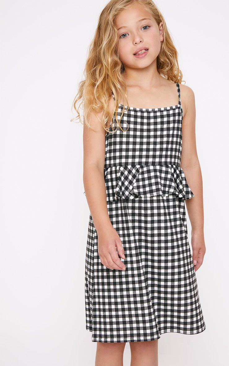 Frill Detail Black Gingham Dress