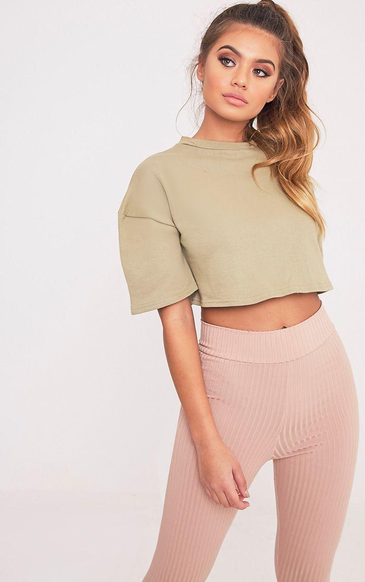 Elna Sage Green Boxy Shortsleeve Crop Sweater 1