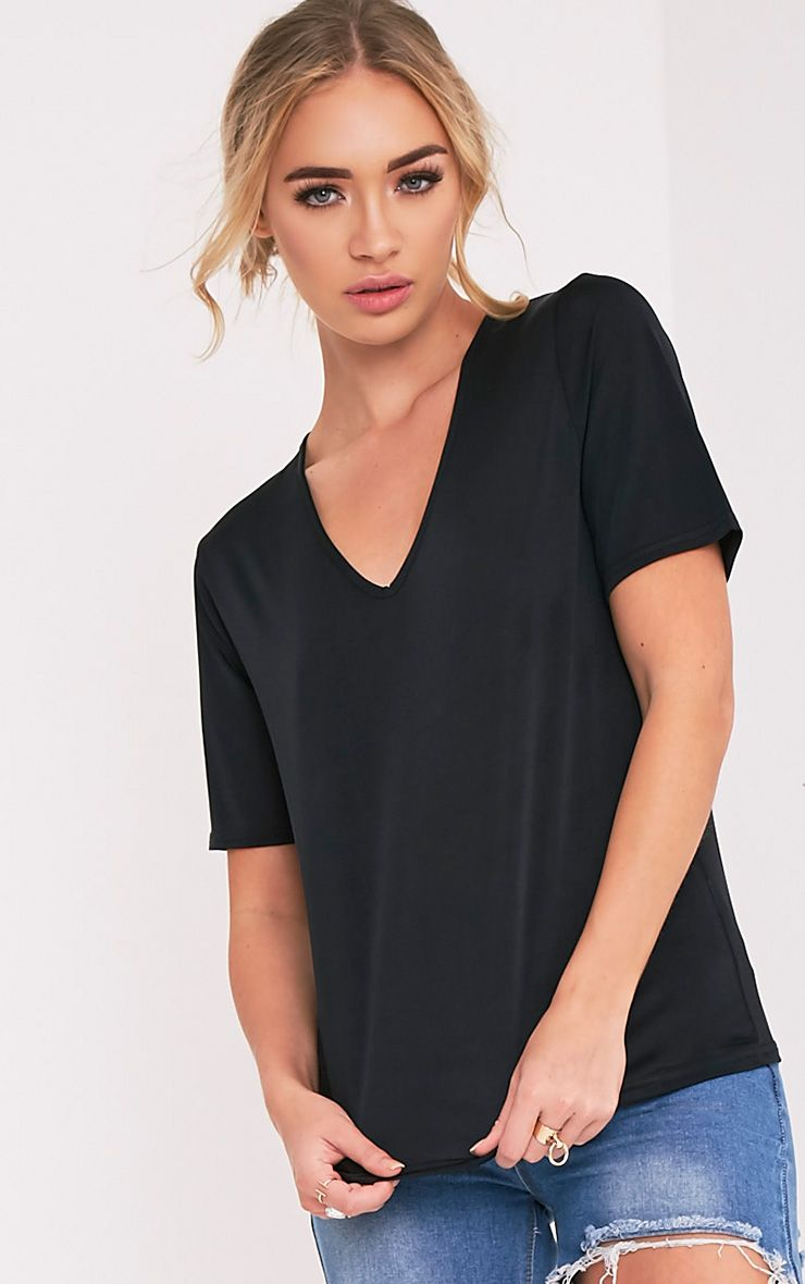 Gaia Black Slinky V Neck T Shirt 1