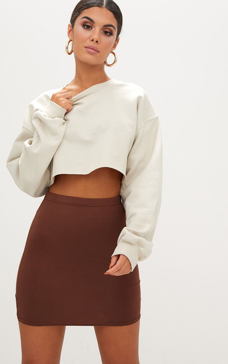 Brown Basic Mini Skirt