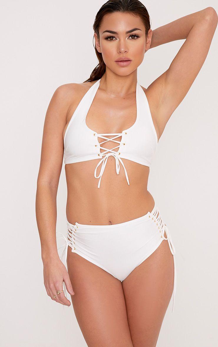 Jenny White Lace Up Front Halterneck Bikini Top