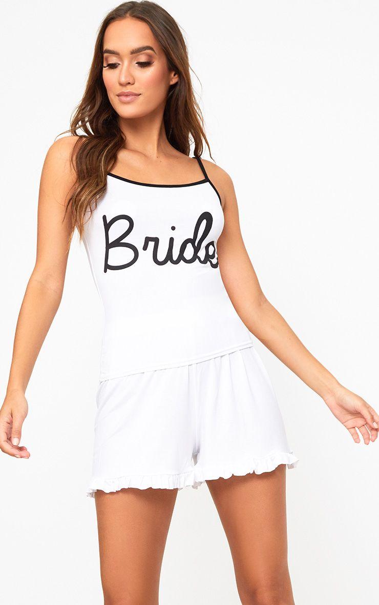 White Bride Ruffle Hem PJ Set