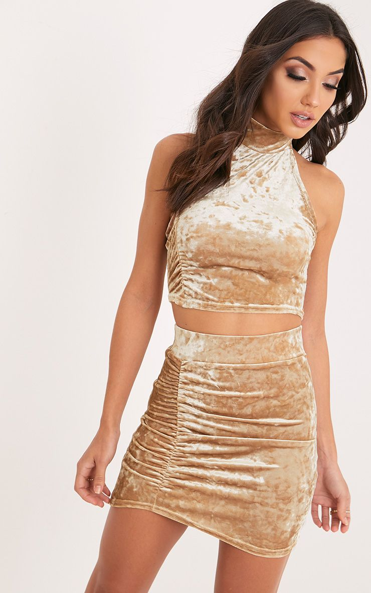 Elettra  Champagne Crushed Velvet Side Ruched Mini Skirt Yellow