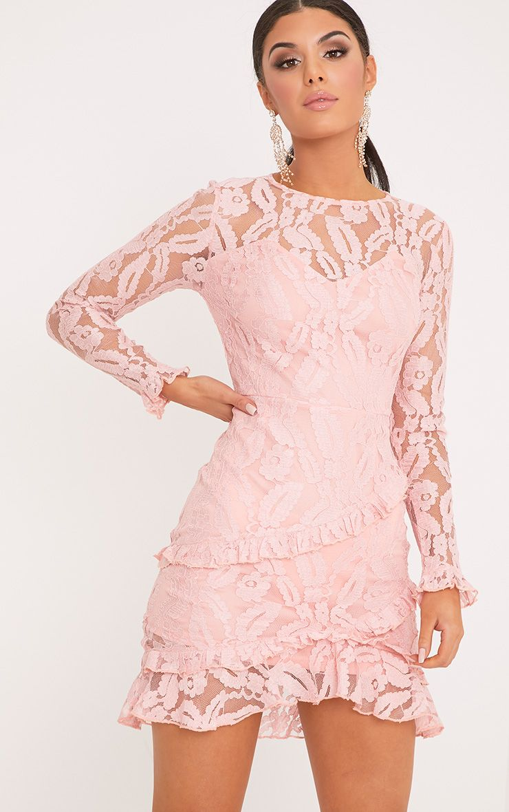 Anneke Blush Lace Frill Detail Bodycon Dress