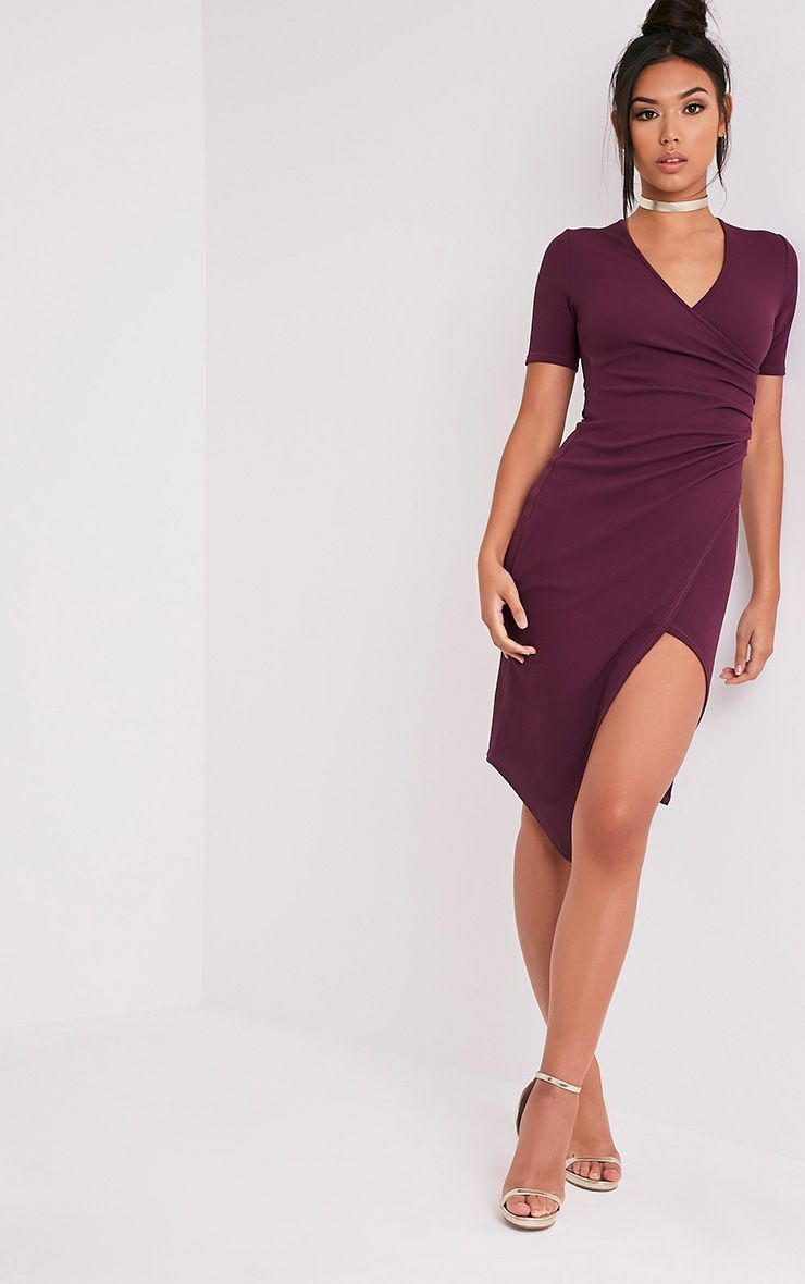 Ivie Aubergine Short Sleeve Wrap Front Midi Dress