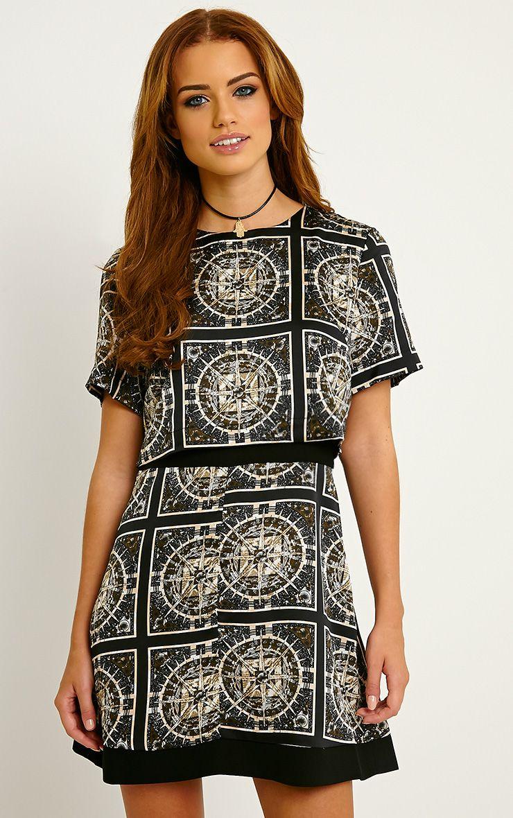 Leonarda Khaki A-Line Printed Layered Shift Dress 1