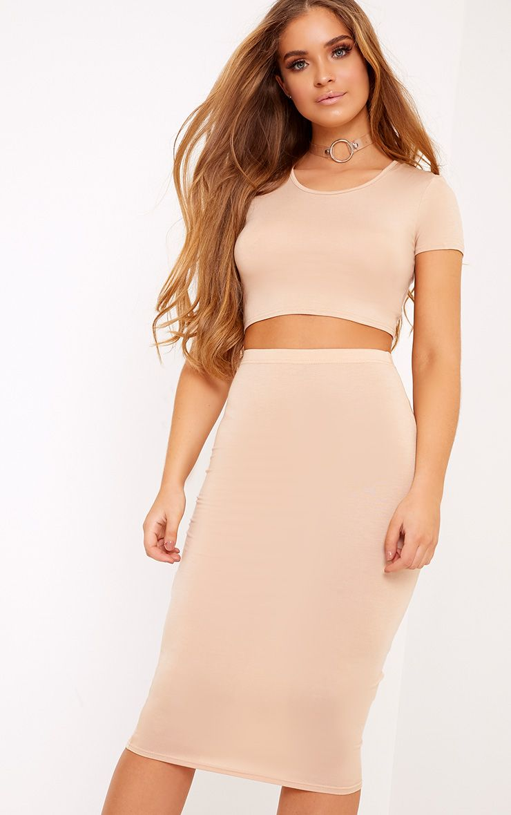 Anaceila Light Sand Jersey Top & Midi Skirt Set