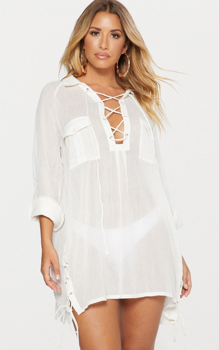 White Lace Up Double Pocket Beach Shirt