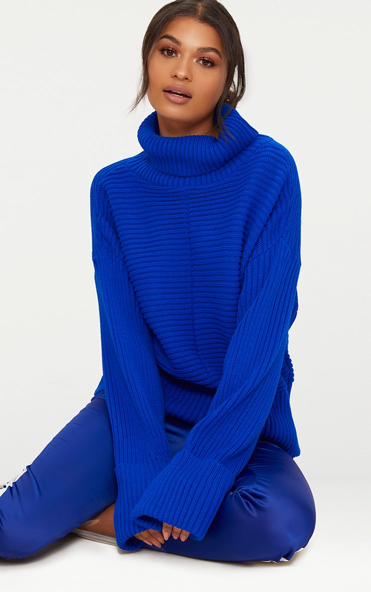 Cobalt Extreme Sleeve Roll Neck Jumper