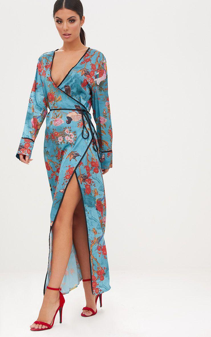Teal Floral Satin Kimono Maxi Dress