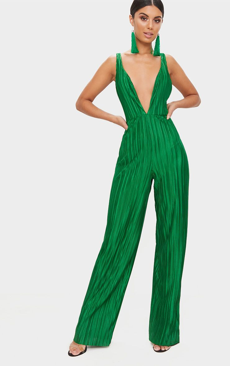 Green Strappy Plunge Jumpsuit